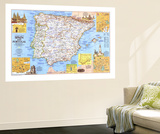 Travelers Map Of Spain And Portugal Map 1984 Side 1 Wall Mural by  National Geographic Maps