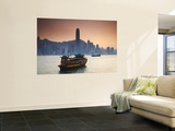 Hong Kong Island Skyline and Tourist Boat Victoria Harbour, Hong Kong, China Wall Mural by Ian Trower