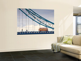 Endland, London, London Red Double Decker Bus on Tower Bridge Wall Mural by Jane Sweeney