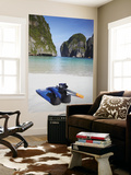 Snorkelling Equipment on Beach, Ao Maya, Ko Phi Phi Leh, Thailand Wall Mural by Ian Trower