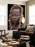 Portrait of Mursi Girl, Omo Valley, Ethiopia Art Mural par Peter Adams