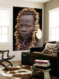 Portrait of Mursi Girl, Omo Valley, Ethiopia Wall Mural by Peter Adams