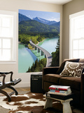Road Bridge over Lake, Sylvenstein Lake and Bridge Bavarian Alps Bavaria Germany Wall Mural by Peter Adams