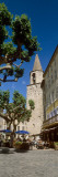 Low Angle View of a Sidewalk Cafe And a Church, Bargemon, Var, Provence-Alpes-Cote D'Azur, France Photographic Print