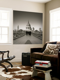 Millennium Bridge and St. Paul's Cathedral, London, England Wall Mural by Jon Arnold