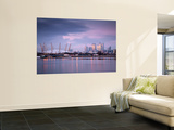 England, London, Royal Victoria Docks, O2 Arena and Canary Wharf Wall Mural by Jane Sweeney