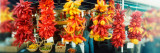 Strands of Chili Peppers Hanging in a Market Stall, Pike Place Market, Seattle, King County, WA Stampa fotografica