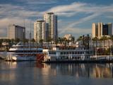 Boats on a Marina, Shoreline Village, Long Beach, Los Angeles County, California, USA Photographic Print