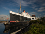 RMS Queen Mary Cruise Ship and Russian Submarine Scorpion at a Port, Long Beach Photographic Print