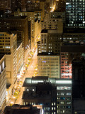 Buildings in a City Lit Up at Night, State Street, Chicago Loop, Chicago, Illinois, USA Photographic Print