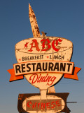 Low Angle View of a Restaurant Sign, Abc Restaurant, Route 66, Kingman, Mohave County, Arizona Photographic Print
