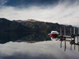 Motorboat in the Lake, Traful Lake, Villa Traful, Road of the Seven Lakes, Lake District, Argentina Photographic Print