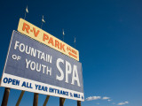 Low Angle View of a Signboard, Fountain of Youth Spa, Salton Sea, Bombay Beach, Imperial County Photographic Print