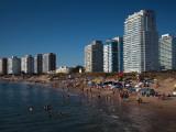 Tourists on the Beach, Millennium Tower, Playa Mansa, Punta Del Este, Maldonado, Uruguay Photographic Print