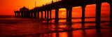 Silhouette of a Pier at Sunset, Manhattan Beach Pier, Manhattan Beach, Los Angeles County, CA Photographic Print