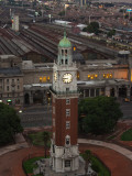 Aerial View of Clock Tower with a Railroad Station, Torre Monumental, Retiro Railway Station Photographic Print