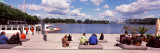 Tourists at the Lakeside, Binnenalster Lake, Hamburg, Germany Photographic Print