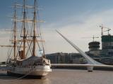 Training Ship with a Footbridge, Puente De La Mujer, Museo Fragata Sarmiento, Puerto Madero Photographic Print