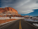 Highway Passing Through a Landscape, Utah State Route 24, Capitol Reef National Park, Torrey Photographic Print