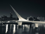 Buildings with a Footbridge at the Port, Puente De La Mujer, Puerto Madero, Buenos Aires, Argentina Fotografisk tryk
