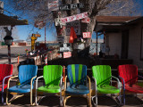 Multi-Colored Chairs at a Sidewalk Cafe, Route 66, Seligman, Yavapai County, Arizona, USA Valokuvavedos