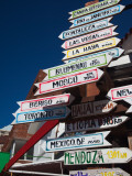 Low Angle View of Distance Signs, Avenida Juan Gorlero, Punta Del Este, Maldonado, Uruguay Photographic Print