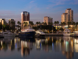 Boats on a Marina at Dusk, Shoreline Village, Long Beach, Los Angeles County, California, USA Photographic Print
