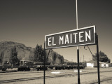 Station Name Signboard at a Railway Station, El Maiten, Chubut Province, Patagonia, Argentina Photographic Print