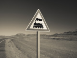 Railroad Crossing Sign at the Roadside, El Maiten, Chubut Province, Patagonia, Argentina Photographic Print