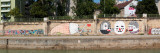 Graffiti on a Wall at the Riverside, Wien River, Vienna, Austria Photographic Print
