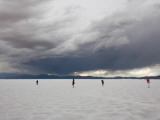 Tourists on a Salt Flat, Salinas Grandes, Jujuy Province, Argentina Photographic Print