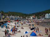 Tourists on the Beach, Playa Piriapolis, Piriapolis, Maldonado, Uruguay Photographic Print