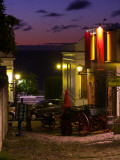 Buildings Lit Up at Dusk, Calle De La Playa, Colonia Del Sacramento, Uruguay Photographic Print