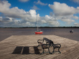 Bench on a Jetty, Colonia Del Sacramento, Uruguay Photographic Print