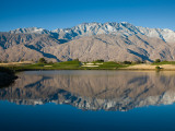 Reflection of Mountains in a Pond, Desert Princess Country Club, Palm Springs Photographic Print