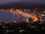 Buildings Lit Up at Dusk, Piriapolis, Maldonado, Uruguay Photographic Print