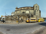 Cable Car Station in Front of a Church, Church of San Francisco, Porto, Portugal Photographic Print