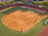 High Angle View of a Baseball Diamond, New York City, New York State, USA Photographic Print