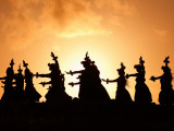 Silhouette of Hula Dancers at Sunrise, Molokai, Hawaii, USA Photographic Print