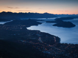 High Angle View of a Coastal Town Lit Up at Dusk, Lake Nahuel Huapi, San Carlos De Bariloche Photographic Print