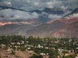 High Angle View of a Town with a Mountain Range, Tilcara, Quebrada De Humahuaca, Argentina Photographic Print