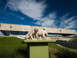 Sculptures of Saber Tooth Cat in Front of a Museum, George C. Page Museum, Miracle Mile Photographic Print