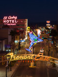 Neon Casino Signs Lit Up at Dusk, El Cortez, Fremont Street, the Strip, Las Vegas, Nevada, USA Photographic Print