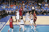 Miami Heat v Dallas Mavericks - Game Three, Dallas, TX -June 5: LeBron James and Ian Mahinmi Photographic Print by Glenn James