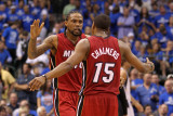 Miami Heat v Dallas Mavericks - Game Three, Dallas, TX -June 5: Mario Chalmers and Udonis Haslem Photographic Print by Mike Ehrmann