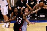 Miami Heat v Dallas Mavericks - Game Five, Dallas, TX -June 9: Jose Juan Barea, Udonis Haslem and M Photographic Print by Tom Pennington