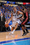Miami Heat v Dallas Mavericks - Game Five, Dallas, TX -June 9: Dirk Nowitzki and Joel Anthony Photographic Print by Andrew Bernstein