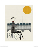 Diverse hoogtepunten van Parijs in één kleurrijk beeld Print van Blanca Gomez