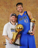 Dallas Mavericks - Dirk Nowitzki & Jose Juan Barea with the MVP & Championship Trophies Photo