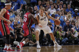 Miami Heat v Dallas Mavericks - Game Three, Dallas, TX -June 5: Dirk Nowitzki and Joel Anthony Photographic Print by Glenn James